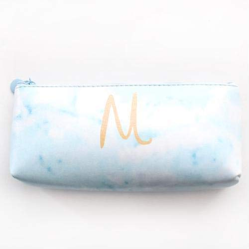 (Creative Marble Leather Pencil Case Stationery Storage Pen Bag School Supplies (Color - Blue))