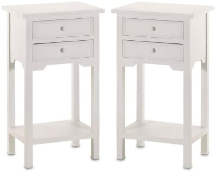 Set of 2 Wood White End Tables Nightstand