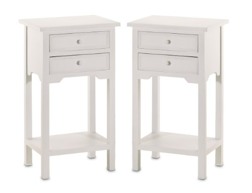 Set of 2 Wood White End Tables Nightstands with Two Drawers - Crafted from pine wood Features two generous drawers and a bottom shelf for ample storage Fully assembled and comes in a set of 2 - nightstands, bedroom-furniture, bedroom - 31LB4ohV13L -