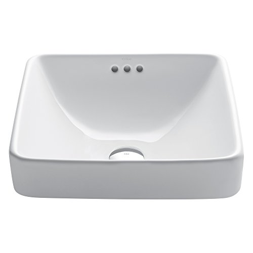 Kraus KCR-281 Modern Elavo Ceramic Square Semi-Recessed Bathroom Sink with Overflow, White by Kraus