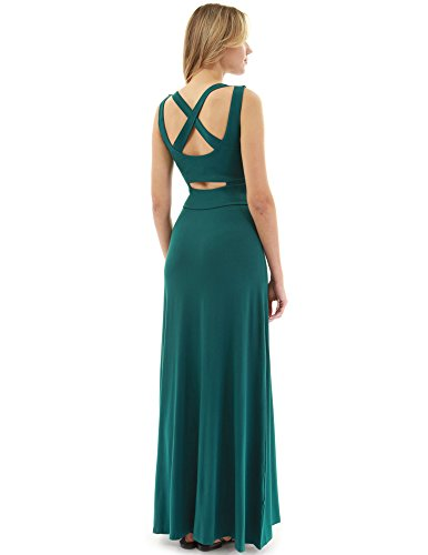PattyBoutik Women's Criss-Cross Keyhole Back Maxi Dress (Dark Green S)