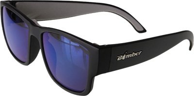 Bomber Gomer Bomb Floating Eyewear Matte Black with Blue Mirror Lens ()