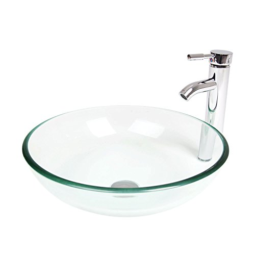 Elecwish,Bathroom Tempered Glass Clear Bowl, Vessel Sink, Countertop Round Basin, Chrome Faucet, 1 2 Pop up Drain