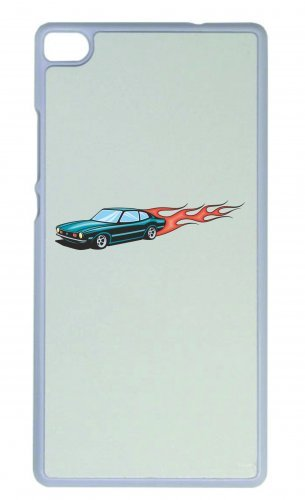 "Smartphone Case Apple IPhone 5/ 5S/ SE ""Hotrod Türkis mit Feuer Flammen America Amy USA Auto Car Luxus Breitbau V8 V12 Motor Felge Tuning Mustang Cobra"" Spass- Kult- Motiv Geschenkidee Ostern Weihnach"