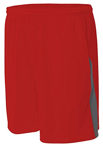 A4 N5005-SCG Color Block Pocketed Shorts, 3X-Large, Scarlet/Graphite
