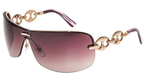 GUCCI Marine CHAIN GG2772S Rose Gold Violet Wrap Oversized Sunglasses 2772