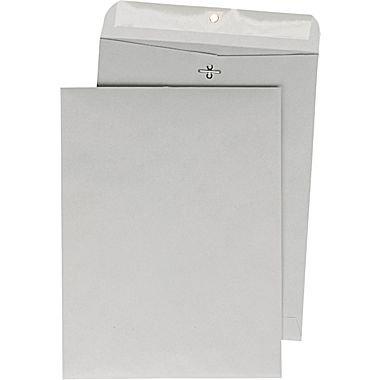 "Staples 10"" x 13"" Gray Kraft Clasp Envelopes, 100/Box"