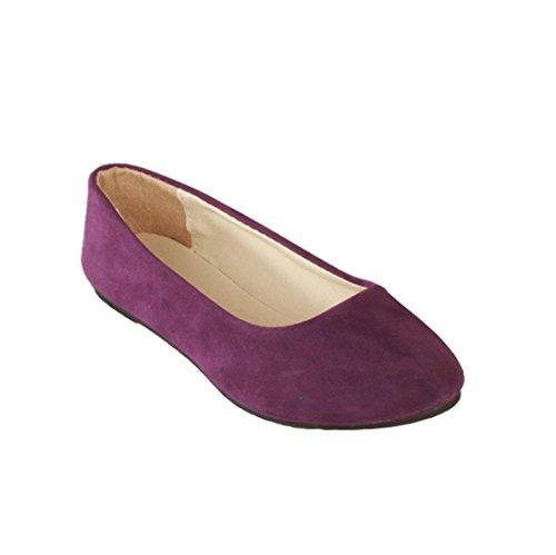 Bailarinas y Color Piel del Primo Elegante Básicas Mujer Grande Demasiado Moda Sintética Púrpura Chic Bailarinas RzqZEwP