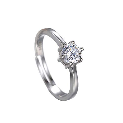 Hyuniture Fashion Creative Marriage Engagement Round Silver Plated Men and Women Diamond Ring
