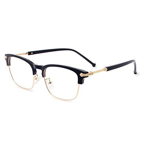 Galulas Blue Light Blocking Glasses for Men Women Eye Protection Computer Reading Gaming Optical Eyewear Non Prescription Clear Lens Vintage Frame Eyeglasses Anti Eyestrain Glare (Black Gold)