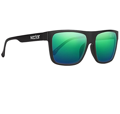 NECTAR Wide Flat Top Sunglasses with EuphoricHD Polarized Lenses and UV Protection (Matte Black Frames / Green Mirror EuphoricHD Polarized - Replace In Lenses Sunglasses