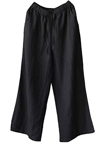 A colore 16 Dimensione Qiusa Nero Uk Donna In Da Casual Con Gamba Coulisse Pantaloni Lino Bianca Larga gZwZ5qP