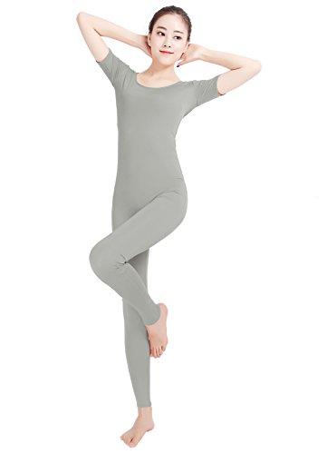 Short Sleeve Unitard (Texmex Unisex Lycra Bodysuit Short Sleeve Unitard One piece Jumpsuits Light Grey XXL)