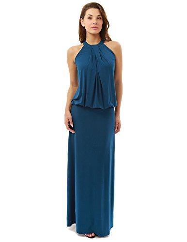 PattyBoutik Donne Halter torsione pieghe blouson maxi vestito Azzurro Scuro