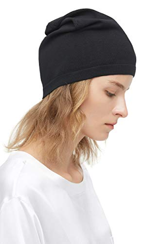 LilySilk 100% Silk Knit Beanie for Men and Women Slouchy Breathable Thin Stretch Skull Cap Soft Comfortable Black ()