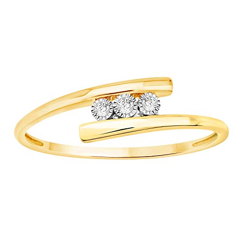 Solid 10k Yellow Gold White Natural Diamond Accent Three Stone Tension Style Band Ring (0.03 Cttw) ()