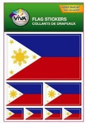 Philippines Country Flag Set of 7 Different Size Collection Decal Stickers New in Package