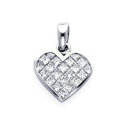 14k White Gold Princess Diamond Heart Pendant 1.59 ct (G-H Color, I1 Clarity)