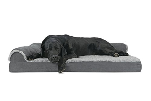 FurHaven Deluxe Orthopedic Chaise Couch Pet Bed for Cats and Dogs, Jumbo, Two-Sided Stone Gray