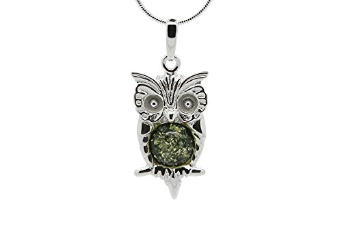 (925 Sterling Silver Owl Pendant Necklace with Genuine Natural Baltic Green Amber. Chain included)