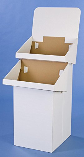 2-Tier Dump Bin for Floor Use, Free-Standing, White Corrugated Cardboard Stand Ships Flat, Easy Setup, Optional Header - Sold in Sets of 4 - Cardboard Floor Display