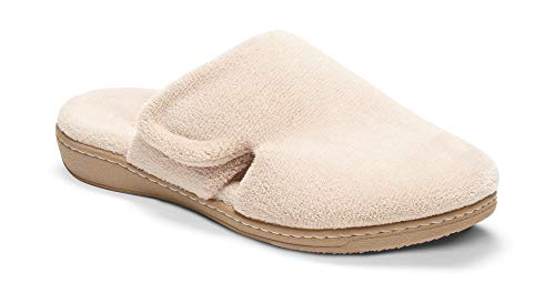 Vionic Women's Indulge Gemma Slipper - Ladies Adjustable Slippers with Concealed Orthotic Support Tan 9 B(M) US