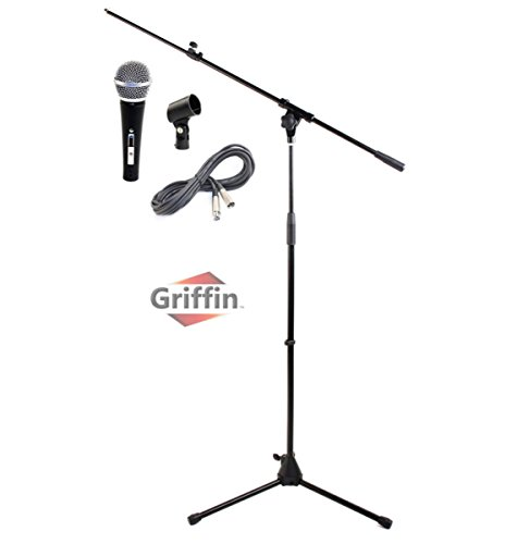 Microphone Boom Stand Package by Griffin|Telescoping Arm Mount & Tripod Holder|Cardioid Dynamic Handheld Vocal Microphone|20FT XLR Mic Cable|Live Sound Stage Gear For Recording Studio or PA DJ Karaoke from Griffin