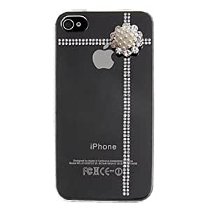 DD Flower of Pearls Coverd Transparent Back Case for iPhone 4/4S