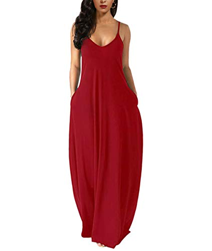 Zabrina Stores Womens Casual Sleeveless Plus Size Loose Plain Long Maxi Dress with Pocket Red 2X