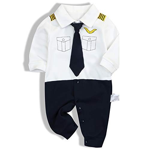 YOUNGER TREE Infant Baby Boy Valentine's Day Clothes Toddler Cotton Outfit Romper Jumpsuit Playsuit Bodysuit (Pilot Style, 9-12 Months) -