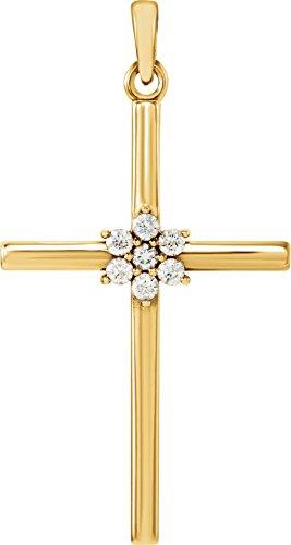 Large 7-Stone Diamond Cluster Christian Cross 14k Yellow Gold Pendant (.10 Ctw) 30.40X16.26MM