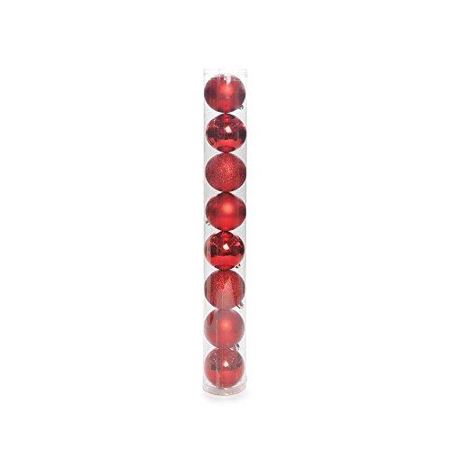 Bola De Natal P/ Árvore Brilho Glitter 7Cm 8 Pçs Vermelha