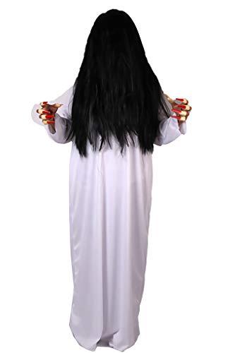 KIRI 유령 사다코 코스프레 의상 할로윈 코스튬 긴머리 가발, 손톱 (화이트, 레드)