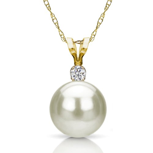 14k Yellow Gold 1/10cttw Diamond 10-10.5mm White Freshwater Cultured High Luster Pearl Pendant, 18'' by La Regis Jewelry