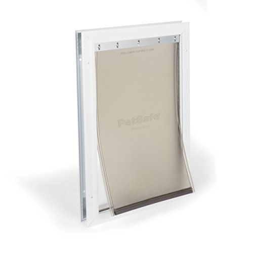 Dog Metal Door Freedom - PetSafe Freedom Aluminum Pet Door for Dogs, Large, White, Tinted Vinyl Flap