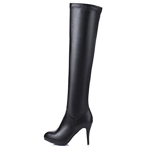 COOLCEPT Damen Mode Stiletto Stiefel Stretch Long Boots with Zipper Black