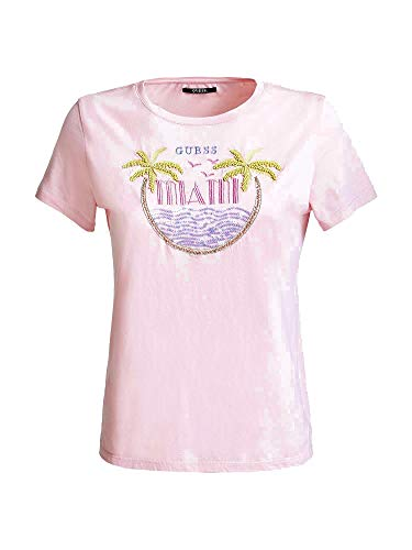 Guess Party Graphic-Print T-Shirt Miami Pink M