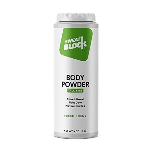SweatBlock Body Powder for Women and Men, Talc-Free Cornstarch Powder for Deodorizing, Moisture Absorption and Staying Fresh. - 4 oz ()