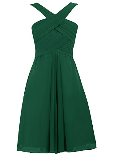 Short Straps Gowns Wedding Prom Dark green Chiffon Party Guest Dresses Bridesmaid Cdress dpxqwEUE
