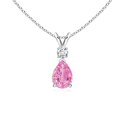 Pink Sapphire Teardrop Pendant with Diamond in 14K White Gold (7x5mm Pink Sapphire) ()