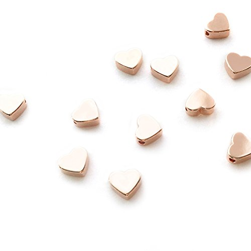 10 Pieces - 16K Rose Gold Plated Heart Charms 2 Hole Heart Beads Jewelry Findings Stamping Blanks .27
