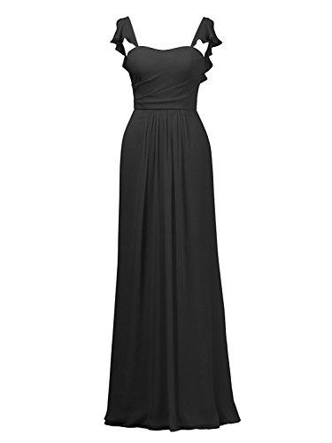 Long Cdress Gowns Dresses Bridesmaid Black Formal Straps Ruffled Prom Chiffon Evening Maxi Dress rZq5Hr
