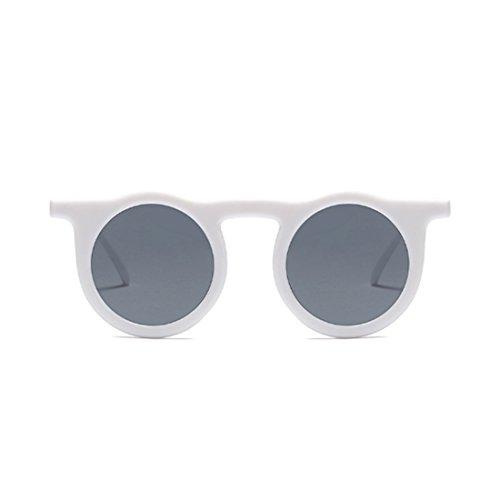 Vintage de redondo Gafas sol marco resina Blanco mujer Gris Huicai TAgqUU