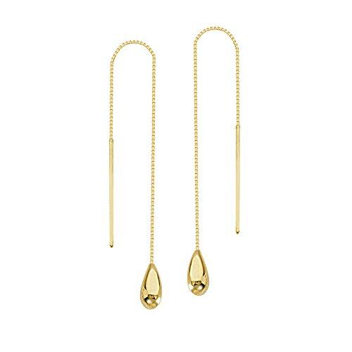 14k Yellow Gold Tear Drop Box Chain Threader Earrings