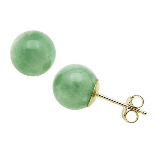 14K Yellow Gold Natural Green Jade Round Stud Earrings (6mm) 14k Yellow Gold Jade Ring