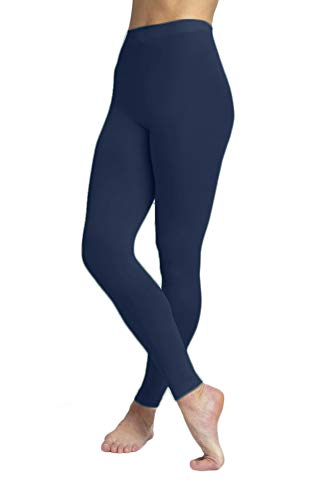 EMEM Apparel Women's Ladies Solid Colored Seamless Opaque Dance Ballet Costume Full Length Microfiber Footless Tights Leggings Stockings Navy C