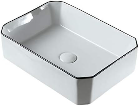 WJ 洗面台 バスルームの洗面台、カウンタ上記ホームセラミック流域八角技術流域(タップ無し)単一流域、50X37X14cm /-/ (Size : 50X37X14cm)