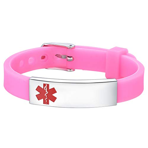 U7 Free Engraving Alert ID Bracelet Stainless Steel Rubber Silicone Emergency Type 1/2 Diabetic...