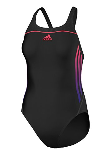 Adidas Girls INF SL Swimsuit - Black / Shock Red Size 26