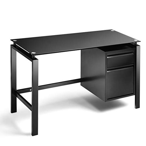 Black Computer Office Desk Writing Desk with Premium Tempered Glass Top 2 Drawers Workstation Desk 46 Inch (Small Glass Desk With Drawers)